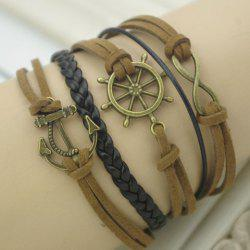 Vintage Helm Anchor Infinity Embellished Friendship Bracelet -
