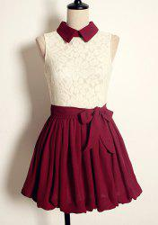 Vintage Flat Collar Color Block High-waisted Sleeveless Lace Pleated Dress For Women -