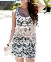 Vintage Scoop Neck Hollow Out See-through Sleeveless Women's ress -