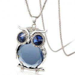 Faux Crystal Night Owl Sweater Chain - Bleu