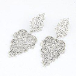 Pair of Vintage Openwork Flower Pattern Earrings