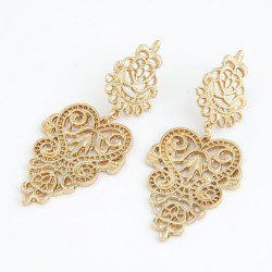 Pair of Vintage Openwork Flower Pattern Earrings - GOLDEN