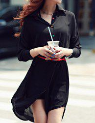 Ladylike Shirt Collar Single-Breasted Irregular Hem Chiffon Women's Dress -