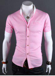 Casual Style Shirt Collar Color Block Cuffs Short Sleeves Polyester Shirt For Men