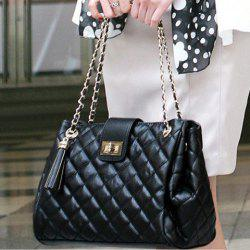 Elegant Checked and Tassels Design Women's Shoulder Bag - BLACK