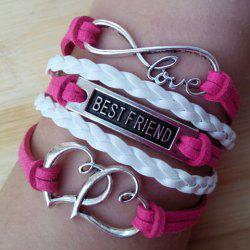 Hollow Heart Infinity Letter Pattern Friendship Bracelet - ROSE MADDER