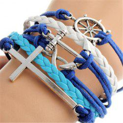 Layered Anchor Cross Helm Bracelet - AS THE PICTURE