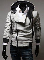 Street Style Side Zipper Studs Long Sleeves Hoodies - LIGHT GRAY
