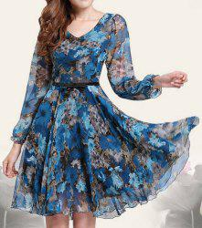 Floral Print Retro Style Puff Sleeve Chiffon Slimming Women's Dress - BLUE