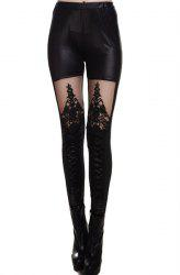Fashionable Stretchy Mesh Splicing Black Leggings For Women - BLACK
