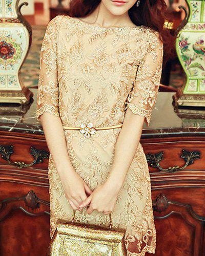 Outfits Retro Style Scoop Neck Gold Thread Floral Embroidered Solid Color 1/2 Sleeve Women's Lace Dress