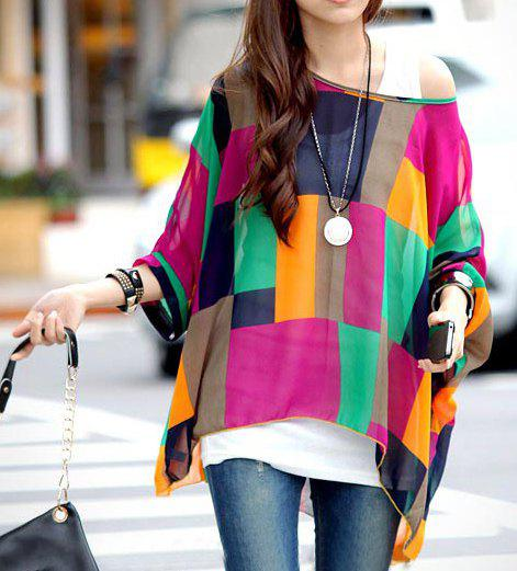 Discount Stylish Scoop Neck Batwing Sleeve Color Block Chiffon Blouse For Women