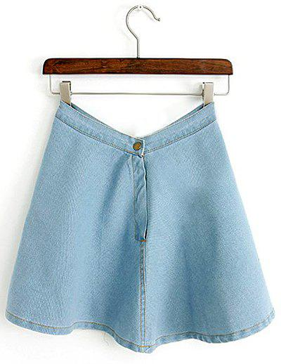 Outfit Casual Style Solid Color Button Zipper All-match Denim Women's Skirt
