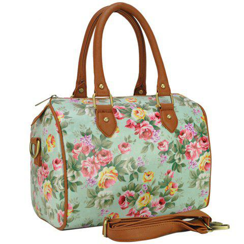 Trendy Sweet Floral Print and Zipper Design Women's Tote Bag