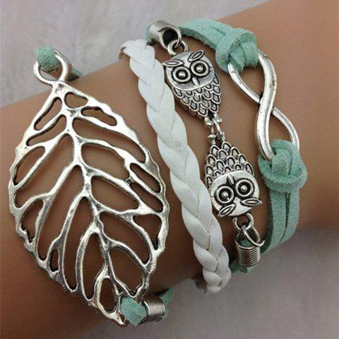 Leaf Owl Infinity Layered BraceletJEWELRY<br><br>Color: AS THE PICTURE; Item Type: Charm Bracelet; Gender: For Women; Chain Type: Leather Chain; Metal Type: Lead-tin Alloy; Style: Trendy; Shape/Pattern: Plant; Length: 18CM; Weight: 0.073KG; Package Contents: 1 x Bracelet;