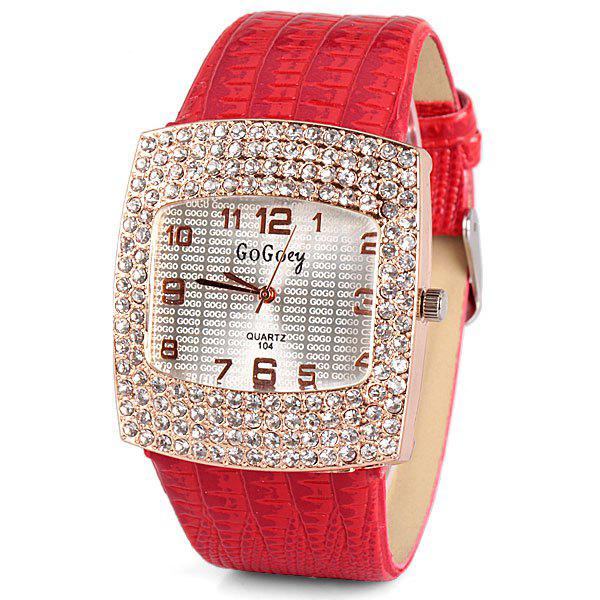 Store Stylish Quartz Watch with Diamonds Analog Indicate Leather Watch Band for Women
