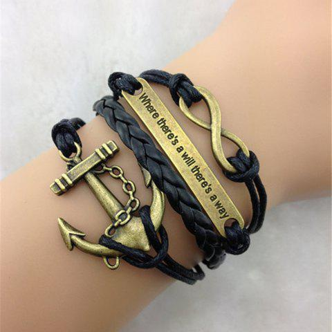 Trendy Retro Anchor Embellished Multilayered Woven Wrap Bracelet For Men and Women