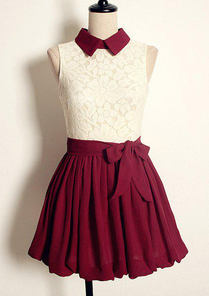 Trendy Vintage Flat Collar Color Block High-waisted Sleeveless Lace Pleated Dress For Women