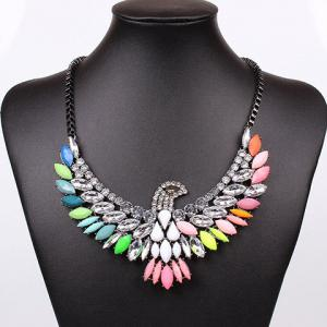 Exaggerated Chic Style Colorful Gem and Rhinestone Decorated Eagle Shape Necklace For Women