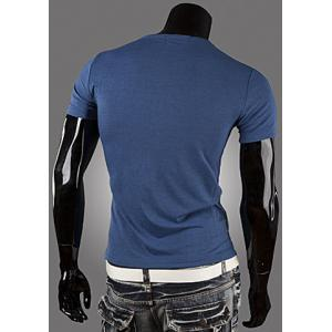 Casual Style Round Neck PU Leather Splicing Buttons Embellished Short Sleeves Men's Polyester T-shirt - BLUE XL