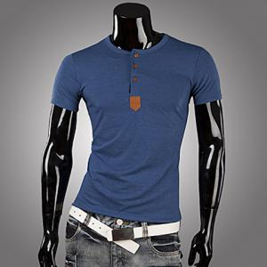 Casual Style Round Neck PU Leather Splicing Buttons Embellished Short Sleeves Men's Polyester T-shirt - Blue - L