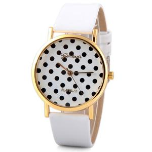 Geneva Luxury Quartz Watch with Diamonds and Small Dots Analog Indicate Leather Watch Band for Women