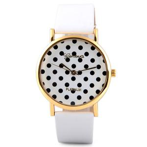 Geneva Luxury Quartz Watch with Diamonds and Small Dots Analog Indicate Leather Watch Band for Women - WHITE