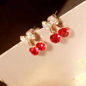 Pair of Rhinestone Cherry Stud Earrings - RED