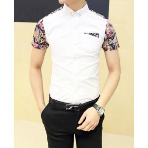 Fashion Style Turn-down Collar Floral Print Color Block Short Sleeves Cotton Shirt For Men -