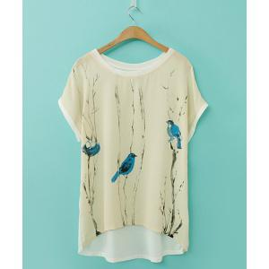 Elegant Scoop Neck Printed Loose-Fitting Short Sleeve Chiffon T-Shirt For Women - As The Picture - S