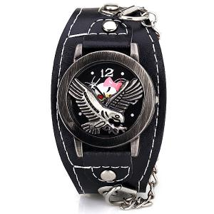 Fashion Flip Eagle Cover Quartz Wrist Watch with Analog Leather Watchband + Chain for Men -