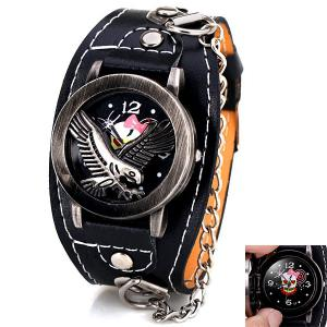 Fashion Flip Eagle Cover Quartz Wrist Watch with Analog Leather Watchband + Chain for Men - Black - 36