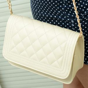 Women's Candy Color Handbag Shoulder Chain Bag Cross-body - OFF WHITE
