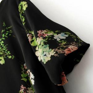 Chic Style Round Collar Floral Print Short Sleeves Chiffon Women's Dress -