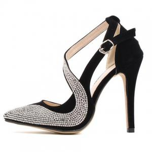Stylish Rhinestones and Openwork Design Women's Pumps - BLACK 36