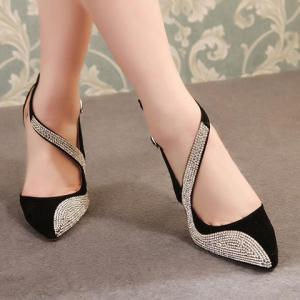 Stylish Rhinestones and Openwork Design Women's Pumps - BLACK 38
