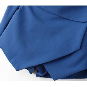 Trendy Style Irregular Hem Solid Color Layered Women's Divided Skirt -