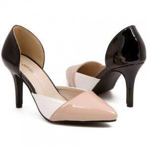 Fashionable Pointed Toe and Color Block Design Women's Pumps -