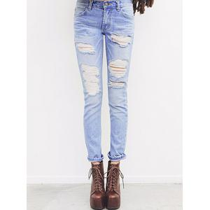 Retro Style Hole Design Bleach Wash Straight-Leg Women's Jeans - Blue - L