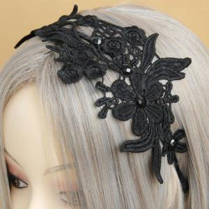 Retro Openwork Lace Flower Pattern Hairband For Women - BLACK