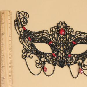 Retro Faux Gemstone Decorated Openwork Lace Mask For Women -