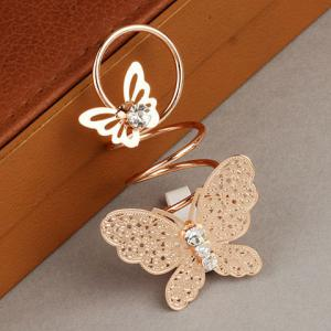 Diamante Double Butterfly Ring -