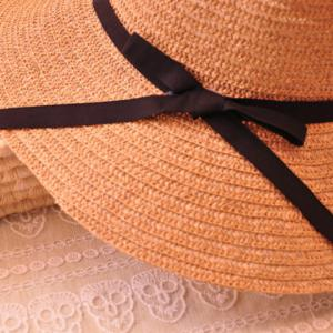 Sweet Black Bowknot Decorated Solid Color Sun Hat For Women -