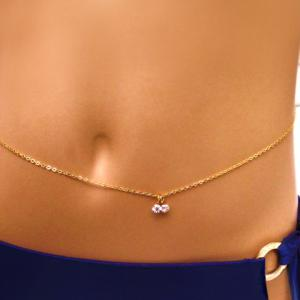 Sexy Rhinestone Pendant Belly Chain For Women - Golden - One-size