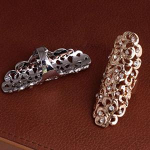 Diamante Openwork Flower Pattern Mid Finger Ring -