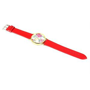 Geneva Luxury Quartz Watch with Diamonds Golden Plate Analog Indicate Leather Watch Band Rose Pattern for Women - RED