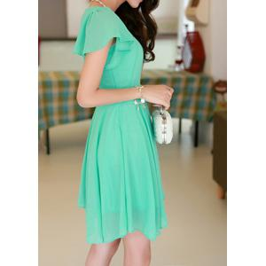 Stylish Scoop Neck Solid Color Short Sleeve Chiffon Dress For Women -
