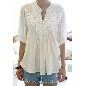 Half Sleeve Lace Splicing Blouse - White - One Size