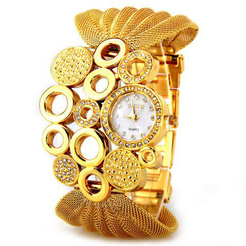 Online Luxury Quartz Watch with Diamonds and Loops Design Round Dial Steel Mesh Strap for Women
