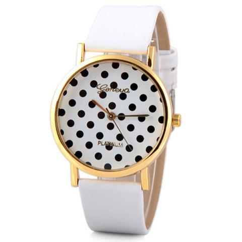 Fancy Geneva Luxury Quartz Watch with Diamonds and Small Dots Analog Indicate Leather Watch Band for Women WHITE
